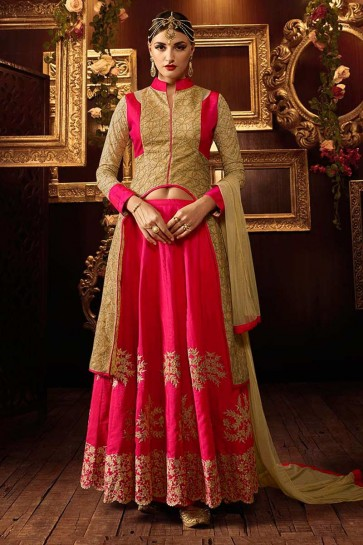 Pink Silk Anarkali Suit