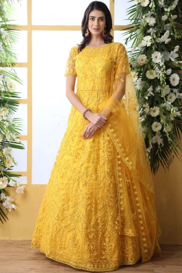 Yellow Net Anarkali Suit