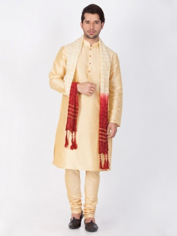 Gold Cotton Silk Ethnic Wear Kurta Readymade Kurta Payjama