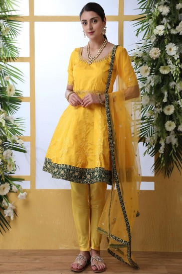 Mustard yellow Art silk Anarkali Suit
