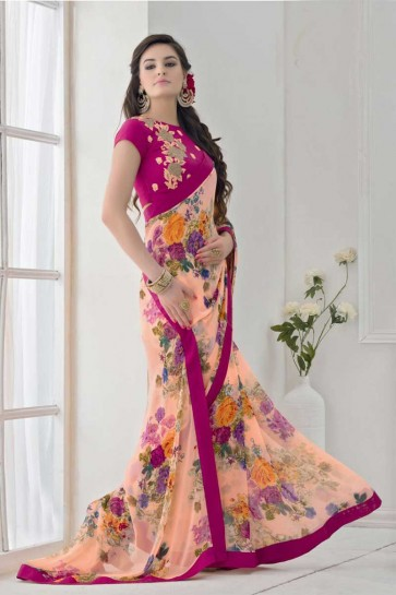 Peach Bemberg Saree