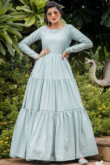 Dusty sky blue Silk Anarkali Suit