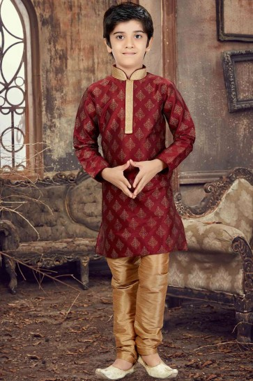 Maroon Art silk Boys Kurta