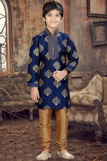 Navy blue Silk Boys Kurta