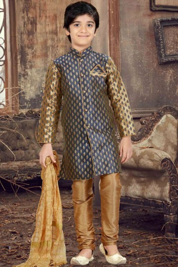 Golden,blue Jacquard Sherwani