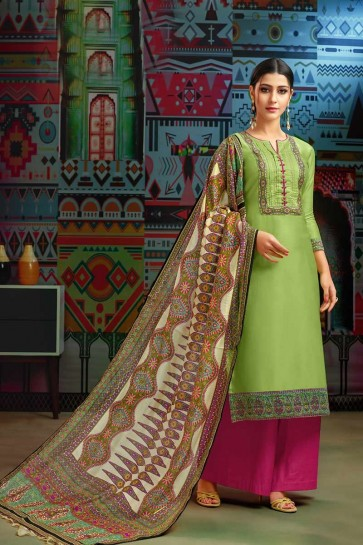 Green Modal Chanderi Cotton Palazzo Suit