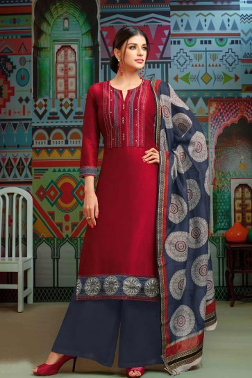 Red Modal Chanderi Cotton Palazzo Suit