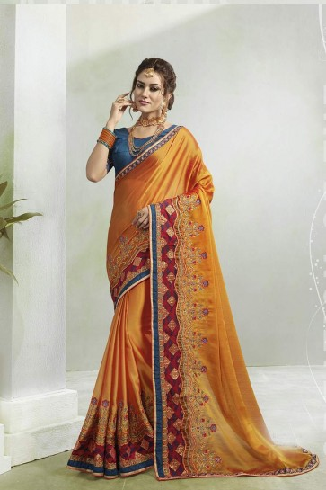 Yellow Two Tone Georgette saree
