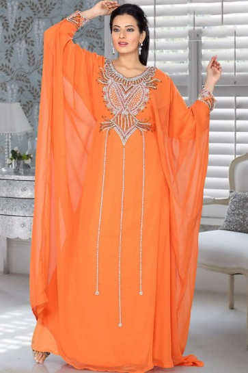 Orange Georgette Abaya Kaftan