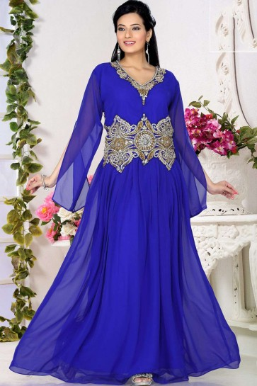 Royal blue Georgette Abaya Kaftan