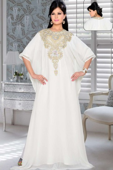 Off white Georgette Abaya Kaftan