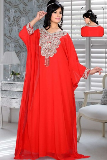 Red Georgette Abaya Kaftan