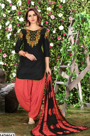 Black Cotton Satin Patiala suit
