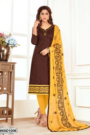 Brown color Khadi Cotton Churidar Suit