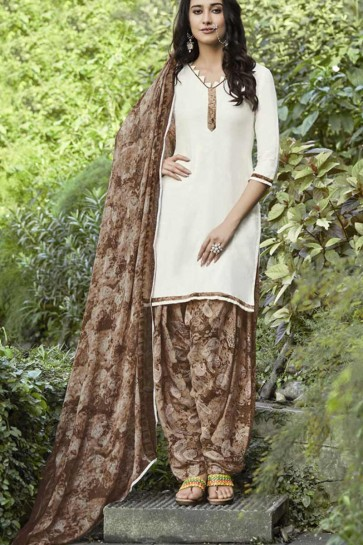Off White Cotton Satin Patiala suit
