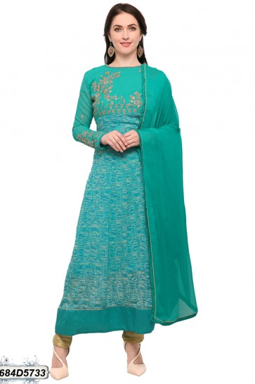 Turquoise color Georgette Anarkali Suit