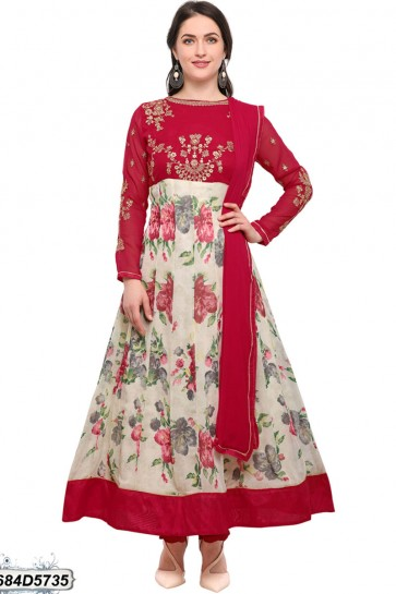 Cream, Red, Multi color Georgette Anarkali Suit