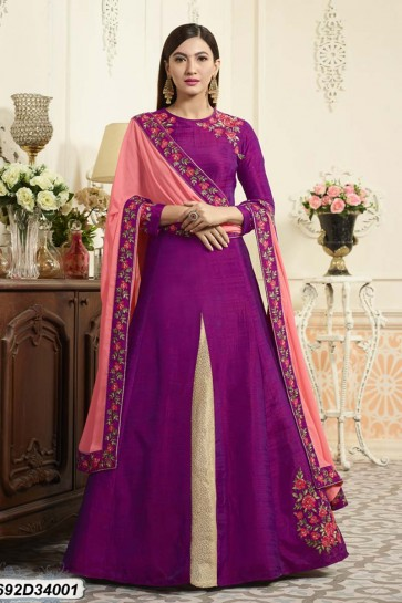 Purple color Raw Silk Anarkali Suit