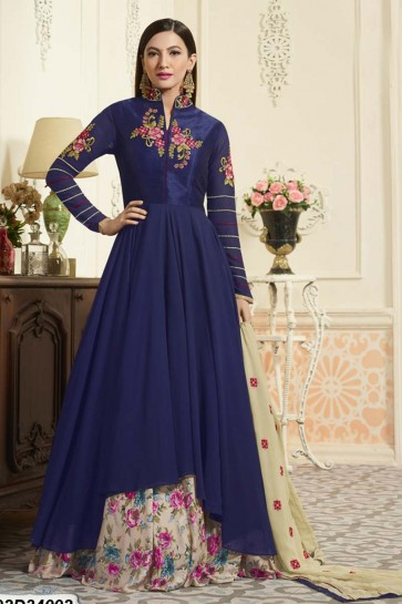 Navy Blue color Georgette, Dhupion Anarkali Suit