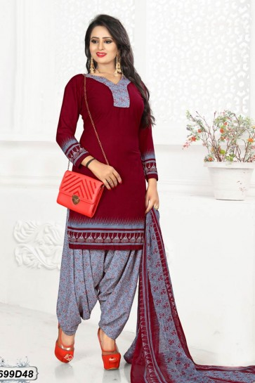 Maroon, Grey Crepe Patiala suit