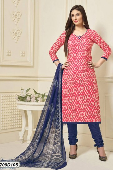 Pink, Off White color Poly Cotton Churidar Suit