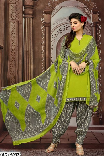 Green (Parrot Green) Cotton Patiala suit