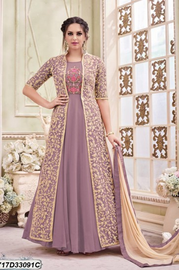 Violet color Inner:Georgette; Jacket: Net Anarkali Suit