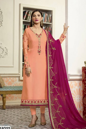 Peach color Satin Salwar Kameez
