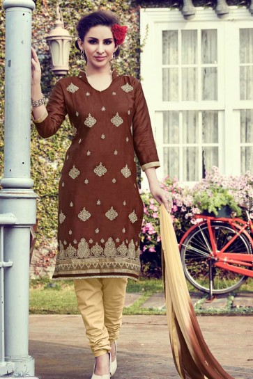 Brown color Cotton Satin Churidar Suit