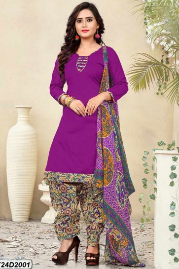 Purple Poly Cotton Patiala suit