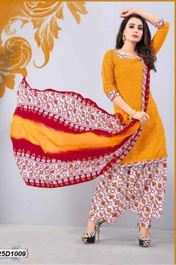 Yellow Poly Cotton Patiala suit