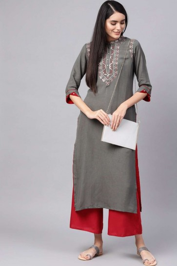 Dark grey Cotton Kurti