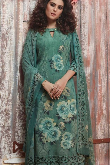 Green Crepe Palazzo Suits