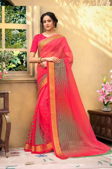 Fushchia Pink color Chanderi Art Silk saree