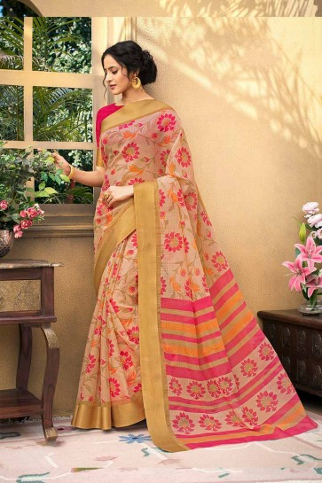 Baby Pink color Chanderi Art Silk saree
