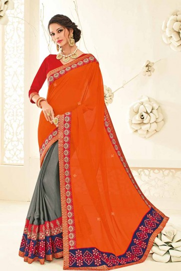 Orange & Grey color Chiffon saree