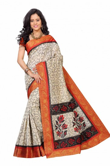 Cream & Orange color Art Silk saree