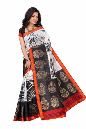 White & Black color Art Silk saree