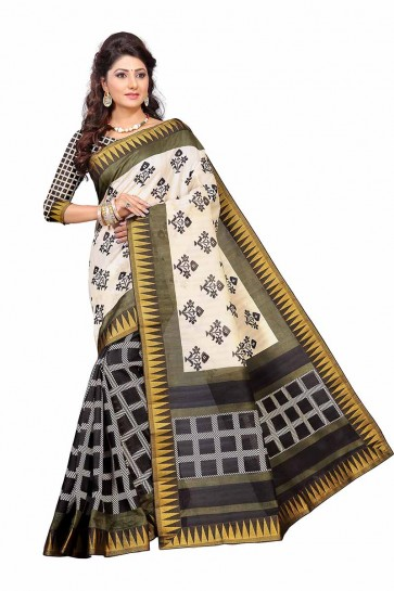Cream & Black color Art Silk saree