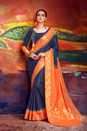 Navy Blue & Orange color Nylon Art Silk saree