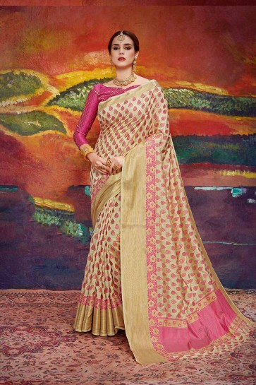 Beige color Nylon Art Silk saree