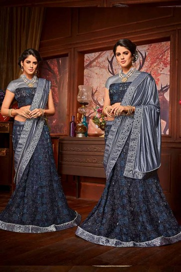 Navy Blue & Grey color Imported Fancy Fabric & Net saree