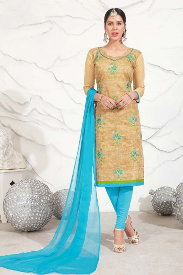 Beige color Chanderi Cotton Churidar Suit