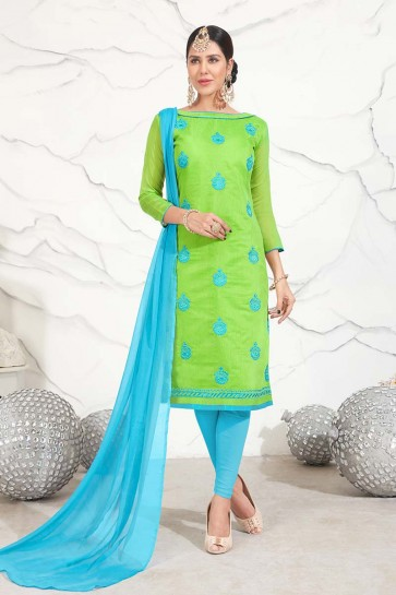 Green color Chanderi Cotton Churidar Suit