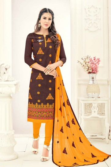Brown color Chanderi Churidar Suit