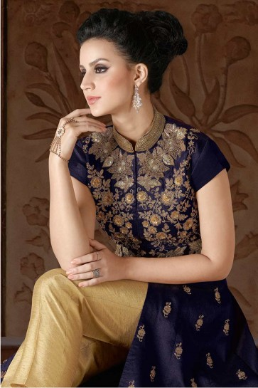 Navy Blue color Art Silk Anarkali Suit