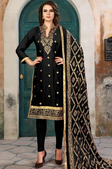 Black color Georgette Churidar Suit