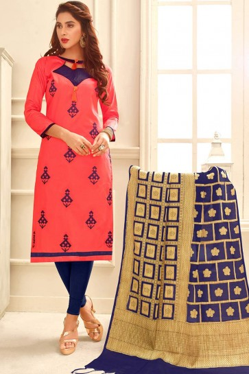 Pink color Glace Cotton Churidar Suit