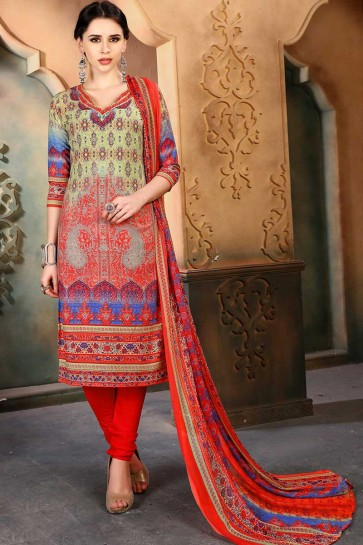 Multi color Cotton Churidar Suit