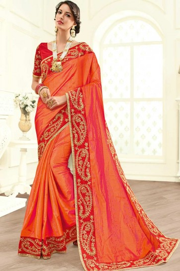 Orange Paper Art Silk saree